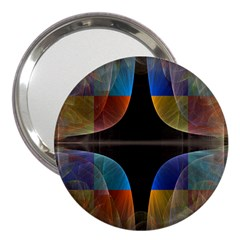 Black Cross With Color Map Fractal Image Of Black Cross With Color Map 3  Handbag Mirrors