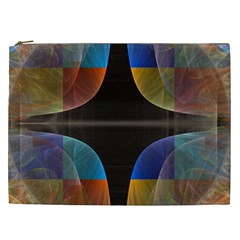 Black Cross With Color Map Fractal Image Of Black Cross With Color Map Cosmetic Bag (xxl)