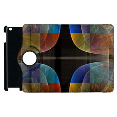 Black Cross With Color Map Fractal Image Of Black Cross With Color Map Apple Ipad 2 Flip 360 Case