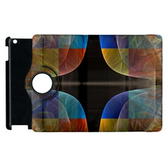 Black Cross With Color Map Fractal Image Of Black Cross With Color Map Apple Ipad 3/4 Flip 360 Case