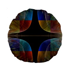 Black Cross With Color Map Fractal Image Of Black Cross With Color Map Standard 15  Premium Round Cushions