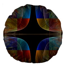 Black Cross With Color Map Fractal Image Of Black Cross With Color Map Large 18  Premium Round Cushions