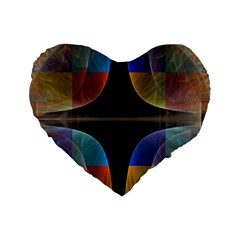 Black Cross With Color Map Fractal Image Of Black Cross With Color Map Standard 16  Premium Heart Shape Cushions