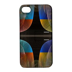 Black Cross With Color Map Fractal Image Of Black Cross With Color Map Apple Iphone 4/4s Hardshell Case With Stand