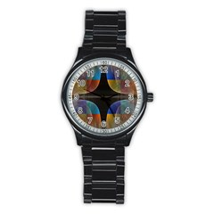 Black Cross With Color Map Fractal Image Of Black Cross With Color Map Stainless Steel Round Watch