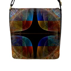 Black Cross With Color Map Fractal Image Of Black Cross With Color Map Flap Messenger Bag (L)