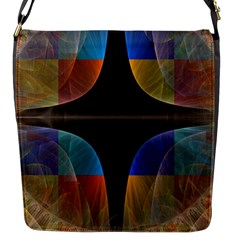 Black Cross With Color Map Fractal Image Of Black Cross With Color Map Flap Messenger Bag (s)