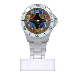 Black Cross With Color Map Fractal Image Of Black Cross With Color Map Plastic Nurses Watch