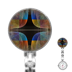 Black Cross With Color Map Fractal Image Of Black Cross With Color Map Stainless Steel Nurses Watch