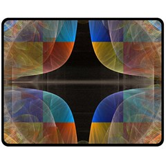 Black Cross With Color Map Fractal Image Of Black Cross With Color Map Double Sided Fleece Blanket (medium)
