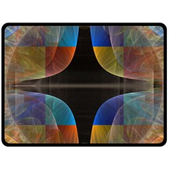 Black Cross With Color Map Fractal Image Of Black Cross With Color Map Double Sided Fleece Blanket (large)