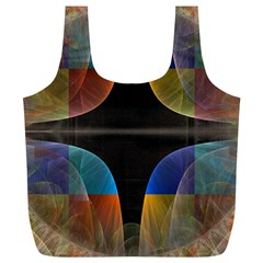 Black Cross With Color Map Fractal Image Of Black Cross With Color Map Full Print Recycle Bags (l)