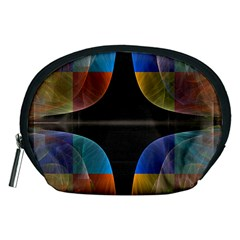 Black Cross With Color Map Fractal Image Of Black Cross With Color Map Accessory Pouches (medium)