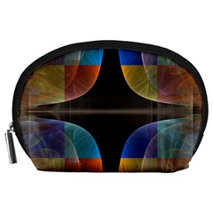Black Cross With Color Map Fractal Image Of Black Cross With Color Map Accessory Pouches (large)