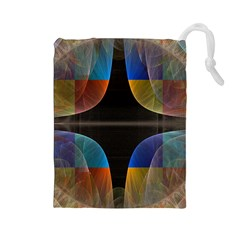 Black Cross With Color Map Fractal Image Of Black Cross With Color Map Drawstring Pouches (Large)