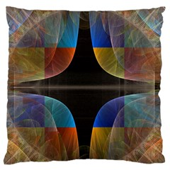 Black Cross With Color Map Fractal Image Of Black Cross With Color Map Large Flano Cushion Case (one Side)