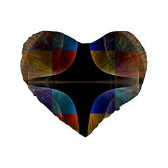 Black Cross With Color Map Fractal Image Of Black Cross With Color Map Standard 16  Premium Flano Heart Shape Cushions