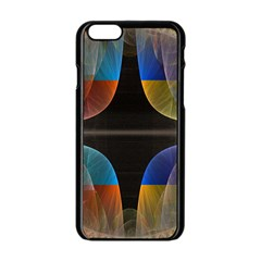 Black Cross With Color Map Fractal Image Of Black Cross With Color Map Apple Iphone 6/6s Black Enamel Case
