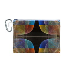 Black Cross With Color Map Fractal Image Of Black Cross With Color Map Canvas Cosmetic Bag (M)