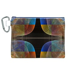 Black Cross With Color Map Fractal Image Of Black Cross With Color Map Canvas Cosmetic Bag (xl)