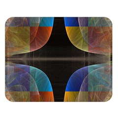 Black Cross With Color Map Fractal Image Of Black Cross With Color Map Double Sided Flano Blanket (Large)