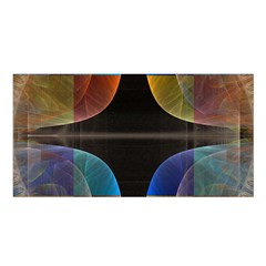 Black Cross With Color Map Fractal Image Of Black Cross With Color Map Satin Shawl