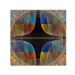Black Cross With Color Map Fractal Image Of Black Cross With Color Map Small Satin Scarf (square)