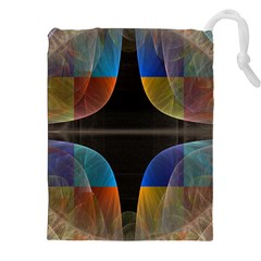 Black Cross With Color Map Fractal Image Of Black Cross With Color Map Drawstring Pouches (XXL)