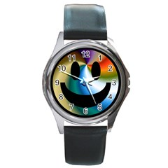 Simple Smiley In Color Round Metal Watch