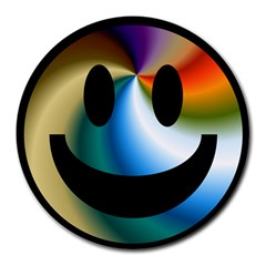 Simple Smiley In Color Round Mousepads