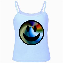 Simple Smiley In Color Baby Blue Spaghetti Tank