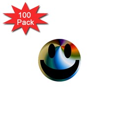 Simple Smiley In Color 1  Mini Buttons (100 pack)