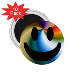 Simple Smiley In Color 2 25  Magnets (10 Pack)