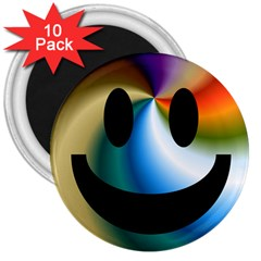 Simple Smiley In Color 3  Magnets (10 pack)