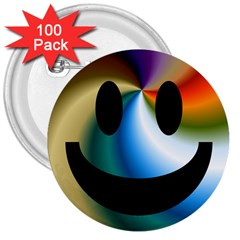 Simple Smiley In Color 3  Buttons (100 pack)