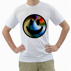 Simple Smiley In Color Men s T Shirt (white) (two Sided)