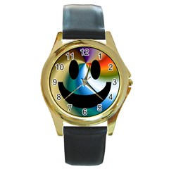 Simple Smiley In Color Round Gold Metal Watch