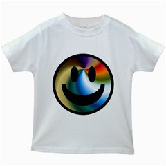 Simple Smiley In Color Kids White T Shirts
