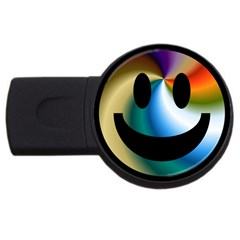 Simple Smiley In Color USB Flash Drive Round (1 GB)