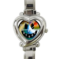 Simple Smiley In Color Heart Italian Charm Watch