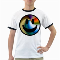 Simple Smiley In Color Ringer T Shirts