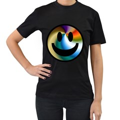Simple Smiley In Color Women s T-Shirt (Black) (Two Sided)