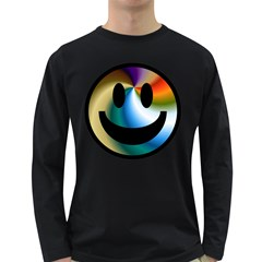 Simple Smiley In Color Long Sleeve Dark T-Shirts