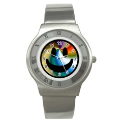 Simple Smiley In Color Stainless Steel Watch