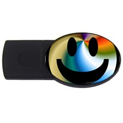 Simple Smiley In Color USB Flash Drive Oval (4 GB)