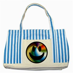 Simple Smiley In Color Striped Blue Tote Bag