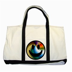 Simple Smiley In Color Two Tone Tote Bag