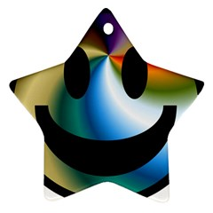 Simple Smiley In Color Star Ornament (two Sides)