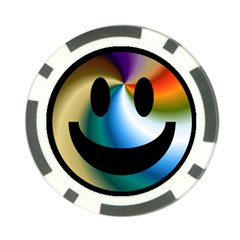 Simple Smiley In Color Poker Chip Card Guard