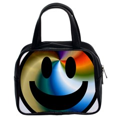 Simple Smiley In Color Classic Handbags (2 Sides)